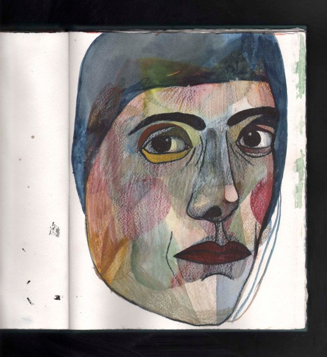 watercolor face april 5
