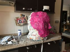 I decided to cover the head with tissue paper to make sure that I didn't miss any gaps.
