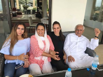 A family lunch up at my parents' Samqaniyeh house. Here I am with my daughter, mom and dad.