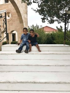 Khaldoun and Tareq Jr. on a staircase which appeared that morning!
