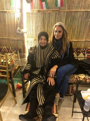 My grandma Mama Fatma and me, cozy in a desert gazebo.